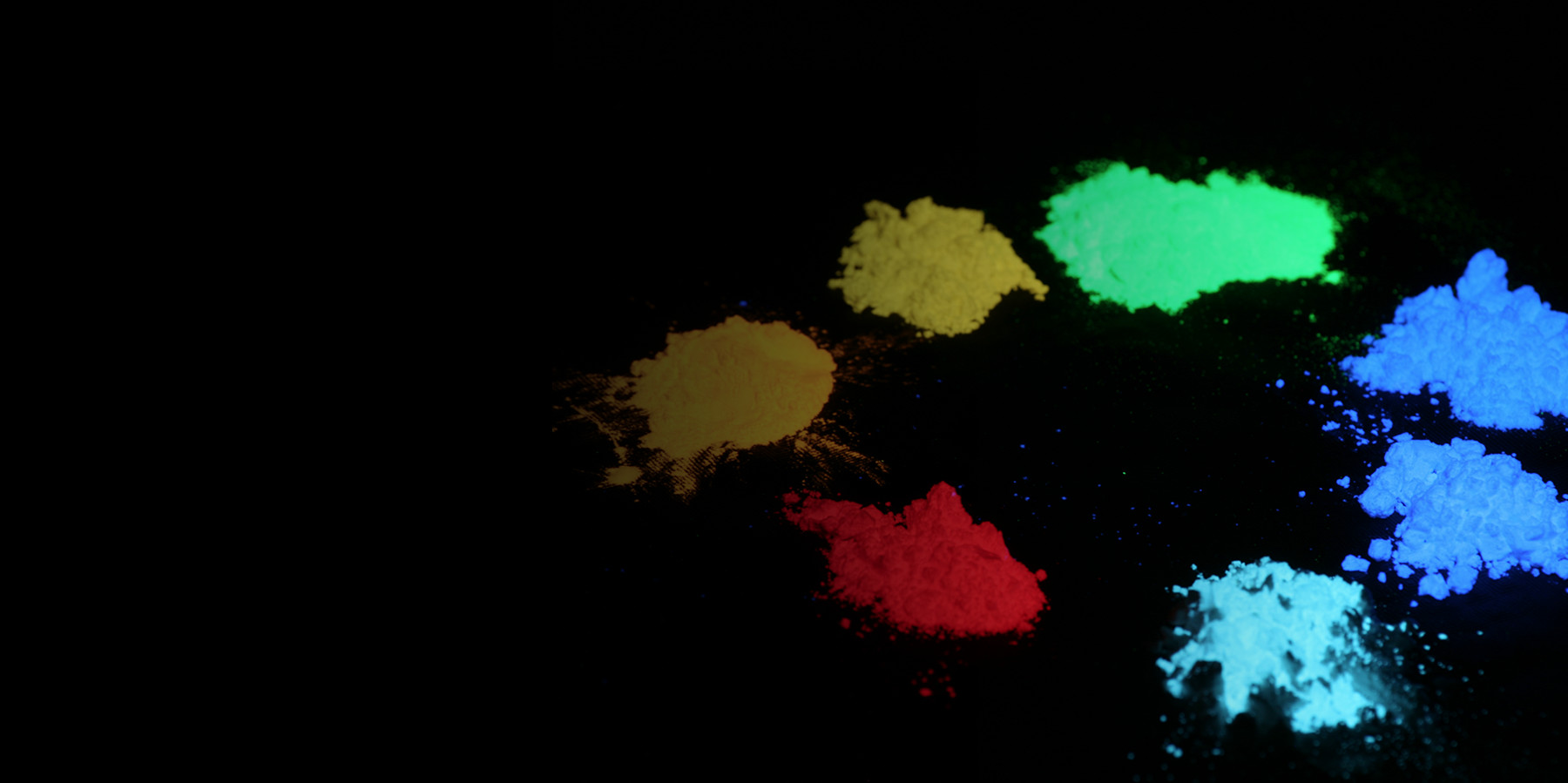 phosphor powders glowing under a UV lamp